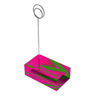 Bright Pink Green Color Swish Place Card Holder