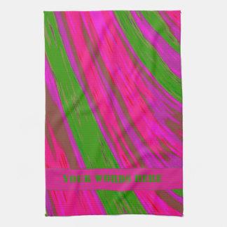 Bright Pink Green Color Swish Tea Towel