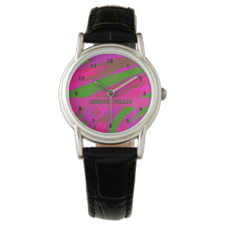 Bright Pink Green Color Swish Watch