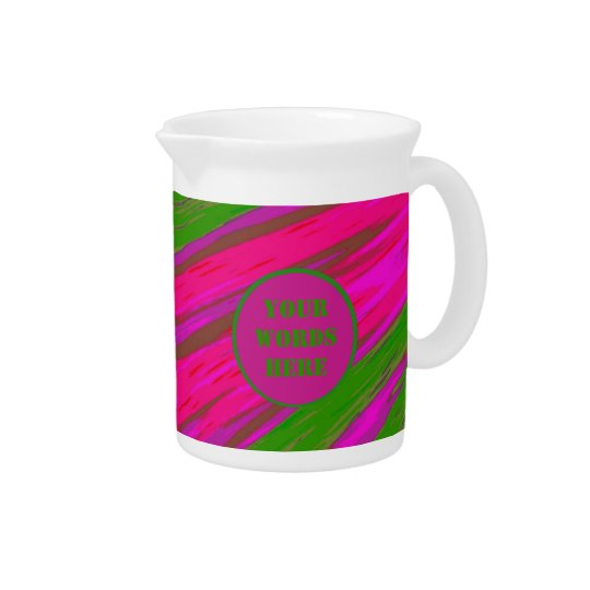 Bright Pink Green Colour Swish Abstract Pitcher