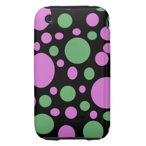 bright pink green dots tough iPhone 3 cover