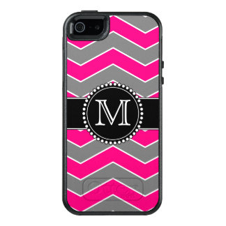 Bright Pink Grey, Black Chevron, Monogrammed OtterBox iPhone 5/5s/SE Case