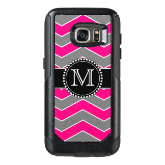 Bright Pink Grey, Black Chevron, Monogrammed OtterBox Samsung Galaxy S7 Case