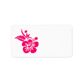 Bright Pink Hawaiian Flowers Address Label
