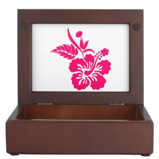 Bright Pink Hawaiian Flowers Keepsake Boxes