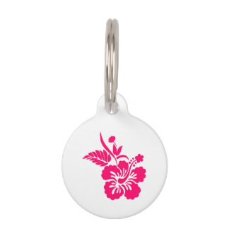 Bright Pink Hawaiian Flowers Pet Tag