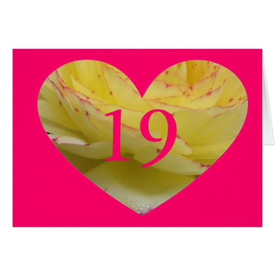 Bright Pink Heart 19th Age Birthday Card