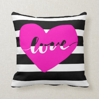 Bright Pink Heart Love Pillow With Black Stripes