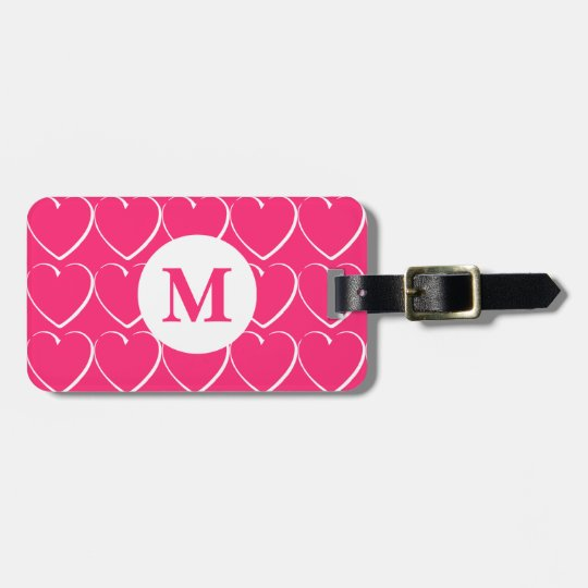 Bright Pink Hearts Monogrammed Luggage Tag