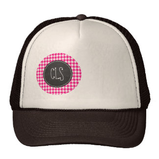 Bright Pink Houndstooth; Chalkboard look Cap