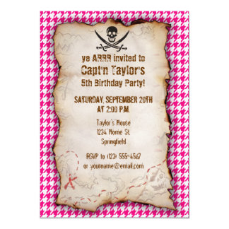 Bright Pink Houndstooth; Jolly Roger Pirate Invite