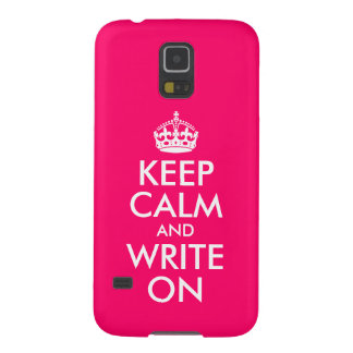 Bright Pink Keep Calm and Write On Galaxy S5 Covers