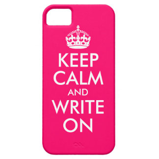 Bright Pink Keep Calm and Write On iPhone 5 Cover