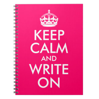 Bright Pink Keep Calm and Write On Notebooks