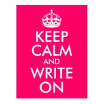 Bright Pink Keep Calm and Write On Post Card