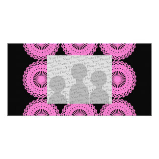 Bright Pink Lace Pattern Design. Photo Card