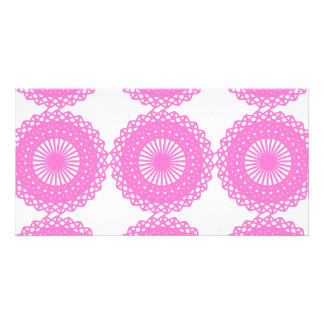 Bright Pink Lace Pattern Design. Picture Card