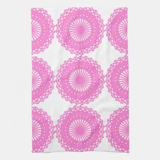 Bright Pink Lace Pattern Design. Tea Towel
