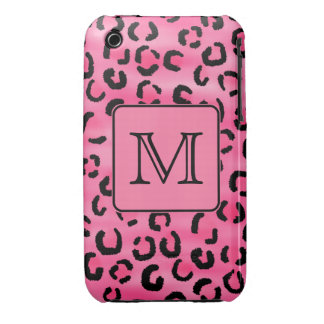 Bright Pink Leopard Print Custom Monogram. iPhone 3 Covers