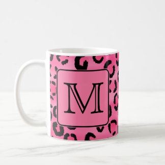 Bright Pink Leopard Print Custom Monogram. Coffee Mug