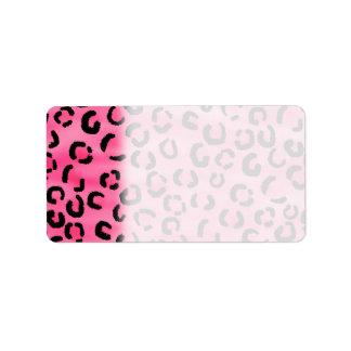 Bright Pink Leopard Print Pattern. Address Label