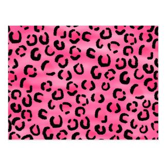 Bright Pink Leopard Print Pattern. Postcard