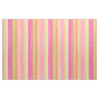 Bright Pink Lime Yellow Watercolor Stripes Pattern Fabric
