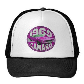 Bright Pink Line 1969 Camaro Trucker Hats