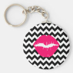 Bright Pink Lips on Black and White Zigzag Basic Round Button Key Ring