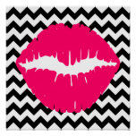 Bright Pink Lips on Black and White Zigzag Poster