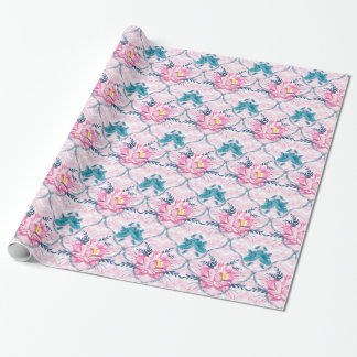 Bright Pink Lotus Sacred Flower Water Blooms Wrapping Paper