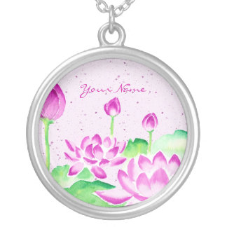 Bright Pink Lotus Watercolor Painting Washi Paper Necklaces