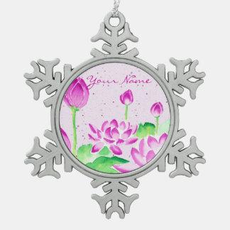 Bright Pink Lotus Watercolor Painting Washi Paper Pewter Snowflake Decoration