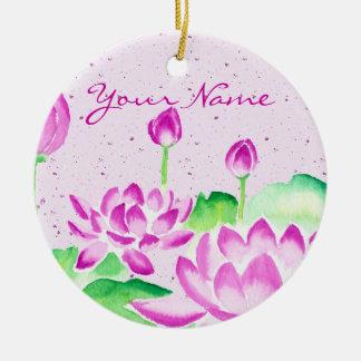 Bright Pink Lotus Watercolor Painting Washi Paper Round Ceramic Decoration