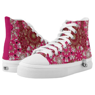 Bright pink mandalas design | Indian motif High Tops