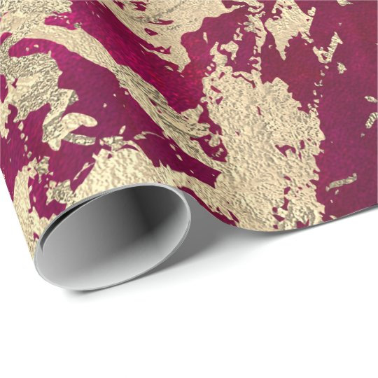Bright Pink Molten Gold Marble Shiny Metallic Wrapping