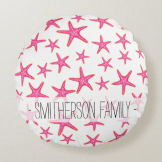 Bright pink neon watercolor gold starfish pattern round cushion