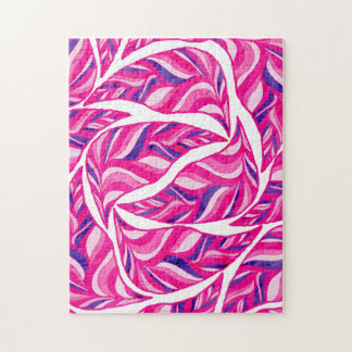Bright pink ombre purple stripes foliage pattern jigsaw puzzle