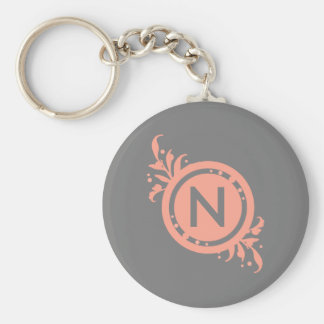 Bright Pink on Grey Floral Monogram Basic Round Button Key Ring