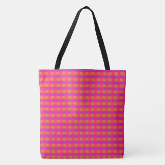Bright Pink Orange and Purple Check Pattern Tote Bag