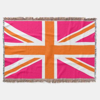 Bright Pink Orange and White Union Jack Throw Blanket