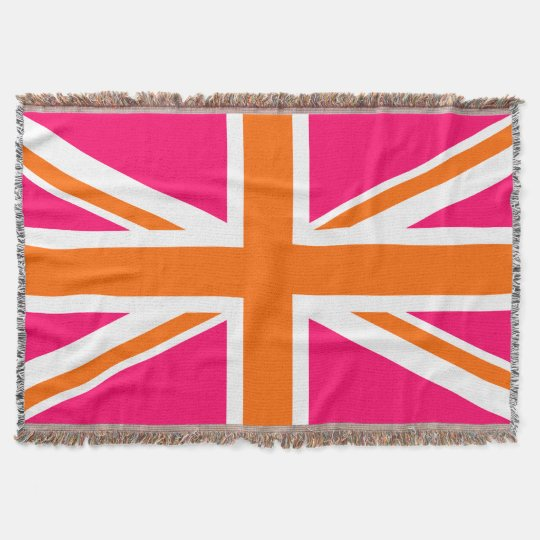 Bright Pink Orange and White Union Jack Throw