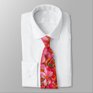 Bright Pink Orange Hawaiian Plumeria Print Tie