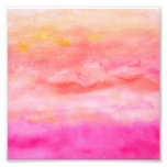 Bright pink orange sunset watercolor painted art photo