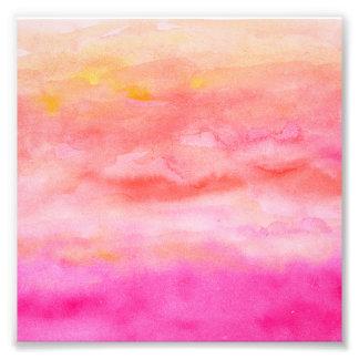 Bright pink orange sunset watercolor painted art photo