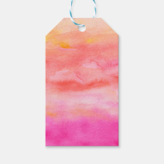 Bright pink orange sunset watercolor painted gift tags