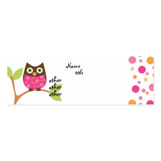 Bright Pink Owl Baby Business Card