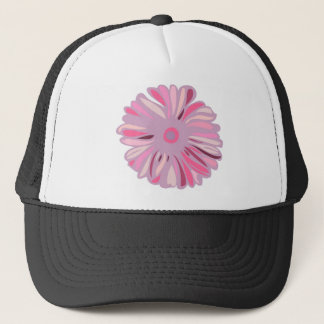 Bright pink peony flower trucker hat