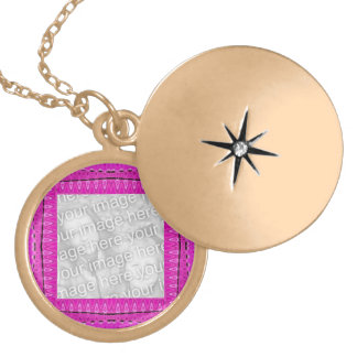 Bright pink photoframe necklace