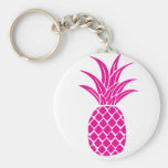Bright Pink Pineapple Button Keychain